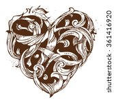 hand drawn vintage heart... | Shutterstock .eps vector #361416920