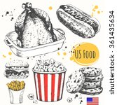 usa food in the sketch style.... | Shutterstock .eps vector #361435634