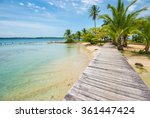 perfect beach with wooden path... | Shutterstock . vector #361447424