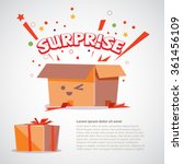 cardboard box with surprise...   Shutterstock .eps vector #361456109
