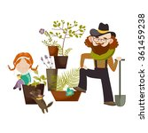 father and daughter planting in ... | Shutterstock .eps vector #361459238