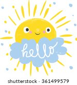 cute sun and cloud says hello.... | Shutterstock .eps vector #361499579