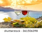 two wineglasses  cheese and... | Shutterstock . vector #361506398