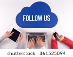 Small photo of Cloud technology with a word FOLLOW US