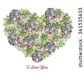 watercolor heart with... | Shutterstock . vector #361535633
