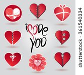 different hearts icon and logo... | Shutterstock .eps vector #361540334