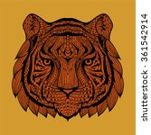 patterned tiger head orange... | Shutterstock .eps vector #361542914