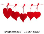 five red valentine hearts... | Shutterstock . vector #361545830
