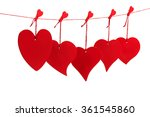 five red valentine hearts... | Shutterstock . vector #361545860