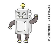 Freehand Drawn Cartoon Robot