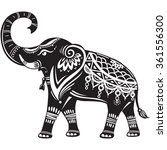 stylized decorated elephant  | Shutterstock .eps vector #361556300