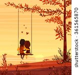 two lovers sitting on a swing... | Shutterstock .eps vector #361565870
