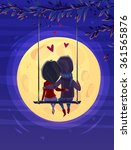 two lovers sitting on the swing ... | Shutterstock .eps vector #361565876