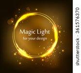 round frame  golden magic light ... | Shutterstock .eps vector #361576370