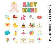baby icons. doodle elements set.... | Shutterstock .eps vector #361588043