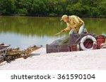 funny ship wrecked castaway man ...   Shutterstock . vector #361590104