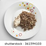 buckwheat porridge and a piece... | Shutterstock . vector #361594103