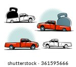 pickup truck overloaded. pickup ... | Shutterstock .eps vector #361595666
