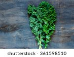Raw Green Curly Kale On Rustic...