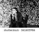 beautiful brunette woman... | Shutterstock . vector #361605986