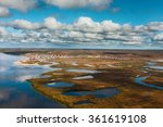 Small photo of Tundra, aerial photography. Jamal Region, Russia, Sumburgh Village, Arctic Circle