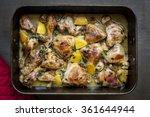 roast chicken in roasting pan ... | Shutterstock . vector #361644944