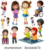 boys and girls doing different... | Shutterstock .eps vector #361666673