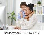indonesian little boy hugging... | Shutterstock . vector #361674719