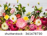 Stock photo flowers frame on white wooden background top view with copy space 361678730
