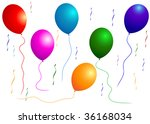 beautiful balloon with bow.... | Shutterstock .eps vector #36168034