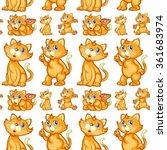seamless cute kitten in... | Shutterstock .eps vector #361683974