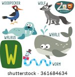 cute zoo alphabet in vector. w... | Shutterstock .eps vector #361684634