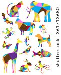 color vector triangles animals... | Shutterstock .eps vector #361713680