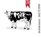 farm logo template with cow.... | Shutterstock .eps vector #361717049