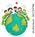 children standing around the... | Shutterstock .eps vector #361724780