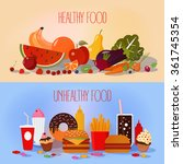 healthy food and unhealthy fast ... | Shutterstock .eps vector #361745354