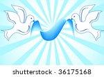 white doves holding blue ribbon....