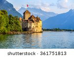 Sunset of Chillon Castle at Geneva lake, Switzerland