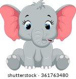 cute baby elephant cartoon... | Shutterstock .eps vector #361763480