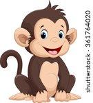 Stock vector cute monkey cartoon 361764020