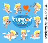 big set of cute cartoon cupids. ... | Shutterstock .eps vector #361773356