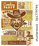 cowboy poster with saloon and... | Shutterstock .eps vector #361779794