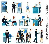 office workers flat set with... | Shutterstock .eps vector #361779809
