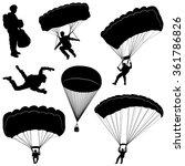 Set Of Skydivers  Parachuting...