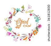 romantic spring wreath. vector... | Shutterstock .eps vector #361812830
