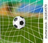 soccer ball in goal on a... | Shutterstock . vector #361814570