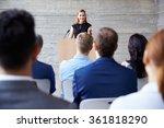 businesswoman addressing...   Shutterstock . vector #361818290