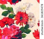 art vintage watercolor floral... | Shutterstock . vector #361825478