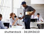 courier collecting package from ... | Shutterstock . vector #361843610