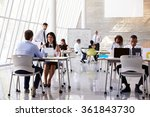 businesspeople working at desks ... | Shutterstock . vector #361843730